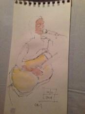Watercolor sketch of Bekah Zachritz by artist Barbara Barry @ Bob Paltrow, Bekah Zachritz, Kelly Holmes and Warren Meier @ Ott & Murphy's Winery Tasting Room, Langley WA, 10.10.2014