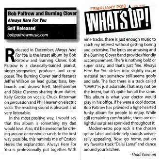 Bob Paltrow and Burning Clover - Always Here For You - Whats Up! Magazine Review