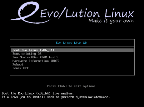 evolution-boot-screen