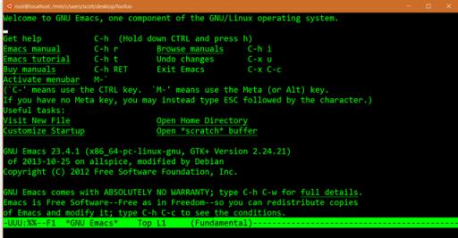 Emacs rulând pe Windows 10