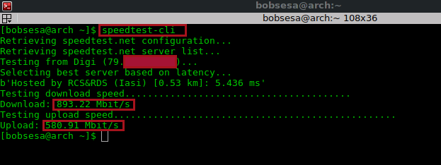 speedtest-cli in bits