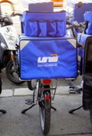 bike with blue bag