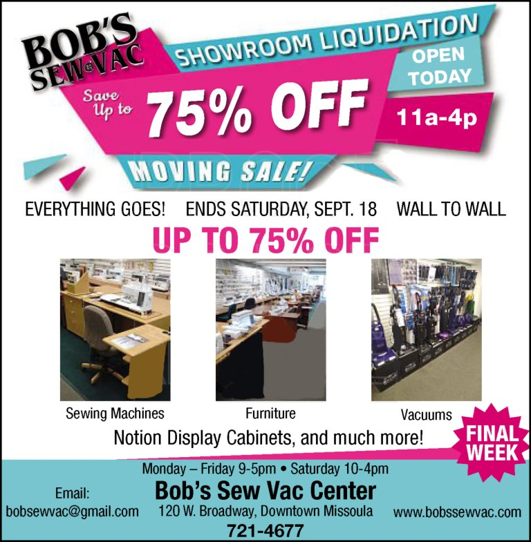 Bob's Sew & Vac Center Clearance Sale