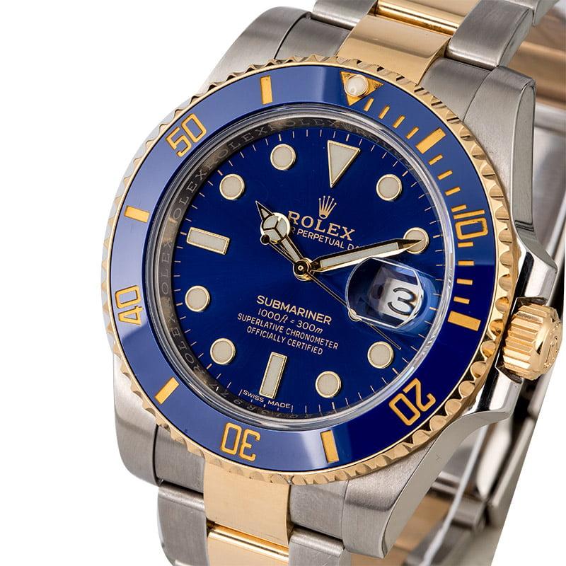 Used Rolex Submariner 116613LB Blue Dial