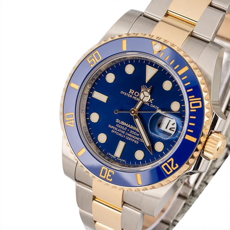 Used Rolex Submariner 116613LB Sunburst Blue Dial
