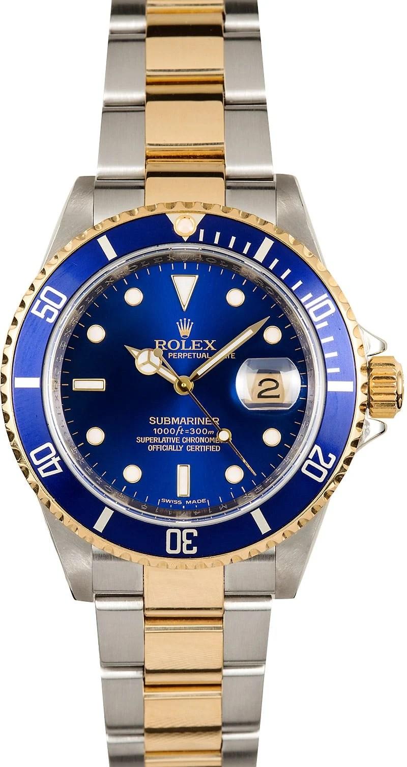 Rolex Submariner 16613 Blue Dial Steel Amp Gold Bezel On Sale