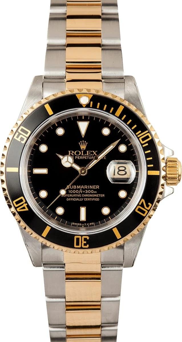 Rolex Submariner Steel & Gold Black Face 16613 - Bob's Watches