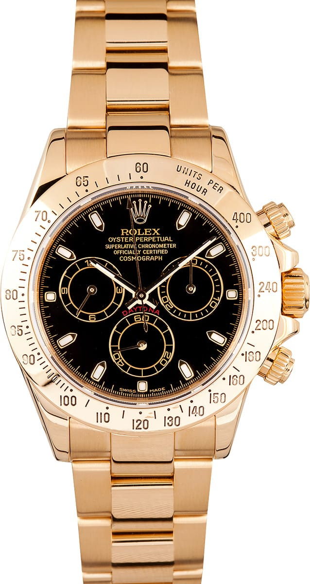 Rolex Daytona 18k Yellow Gold Black Dial Save 1000s