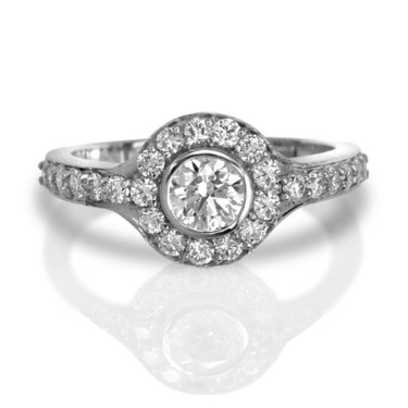 RE2439 halo diamond engagement right by Max Strauss in white gold
