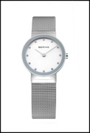 Ladies silver Bering watch with mesh band