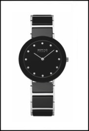 Women's Bering watch with black ceramic band and Swarovski crystal accents