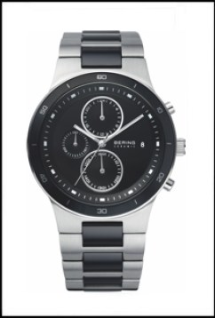 Men's Bering watch with silver and black band