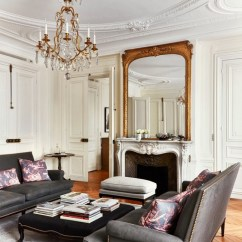 French Living Rooms Images Brown Leather Sofa Room Ideas Effortless Chic Interiors With Modern Style Paris Fireplace Gilt Mirror