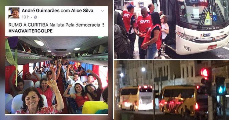 PT aluga ônibus para trazer manifestantes do interior para Curitiba