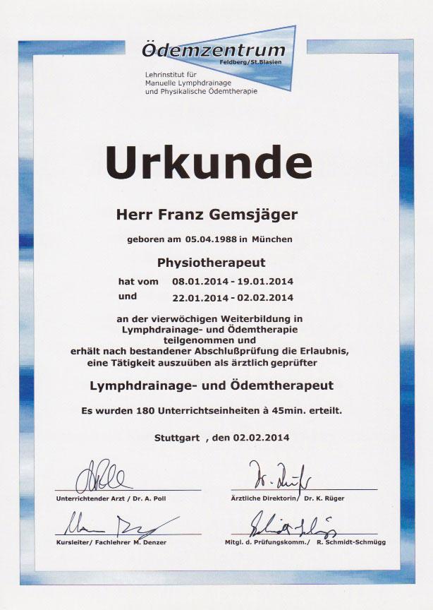 Ödemzentrum - Zertifikat (02.02.2014)