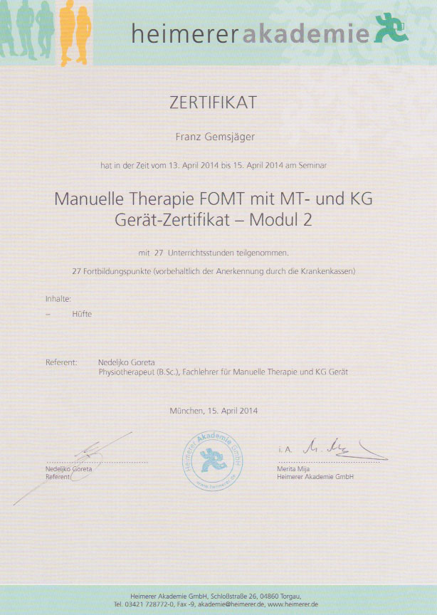 heimerer akademie - Zertifikat (15.04.2014)