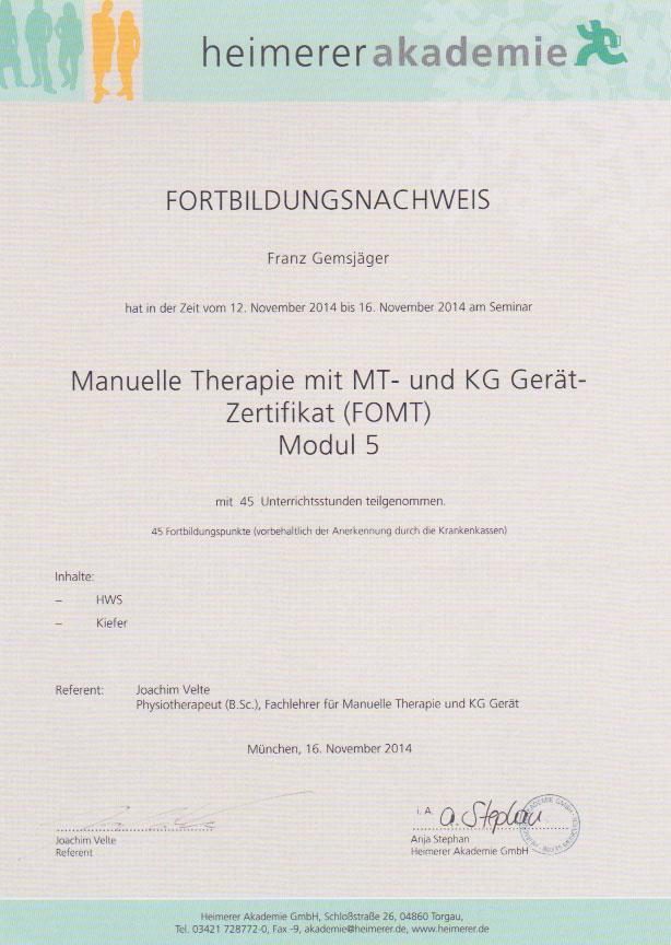 heimerer akademie - Zertifikat (16.11.2014)