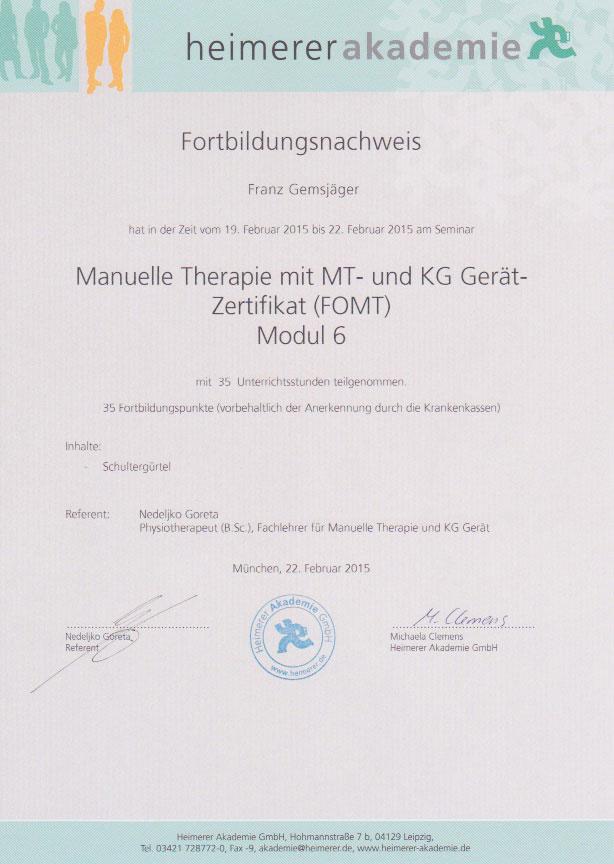 heimerer akademie - Zertifikat (22.02.2015)
