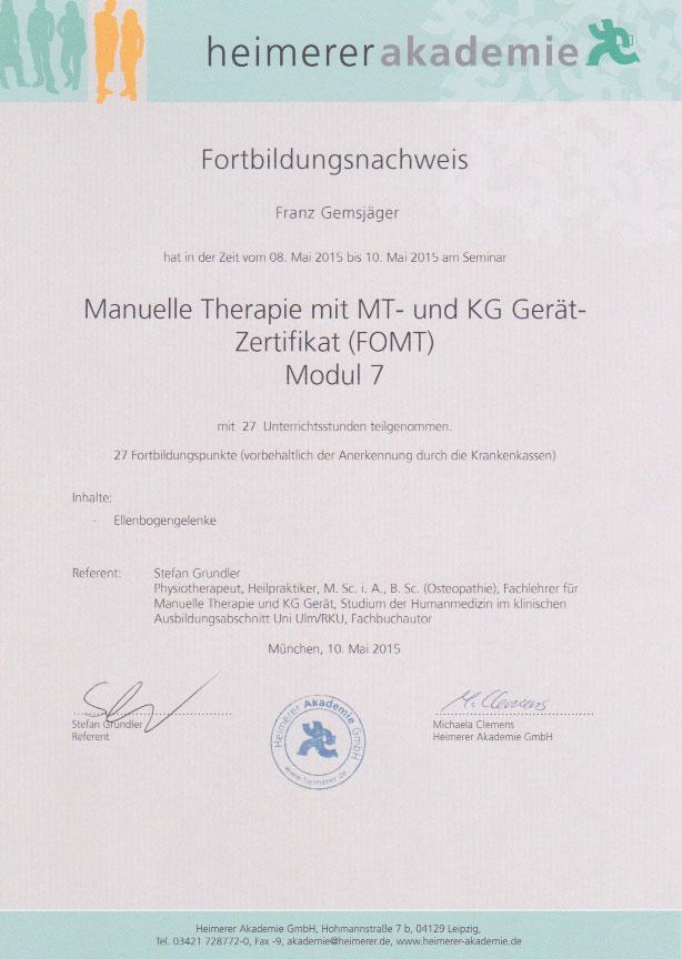 heimerer akademie - Zertifikat (10.05.2015)