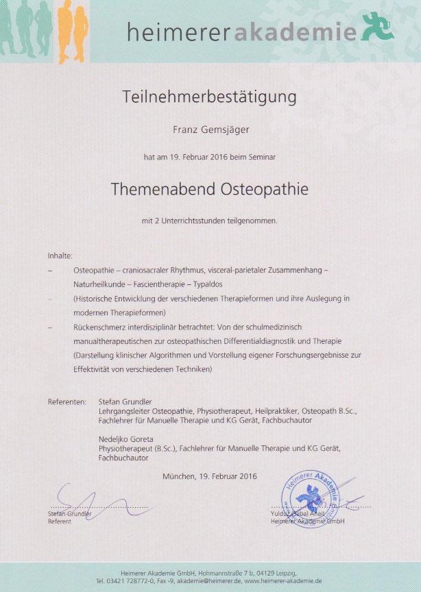 heimerer akademie - Zertifikat (19.02.2016)