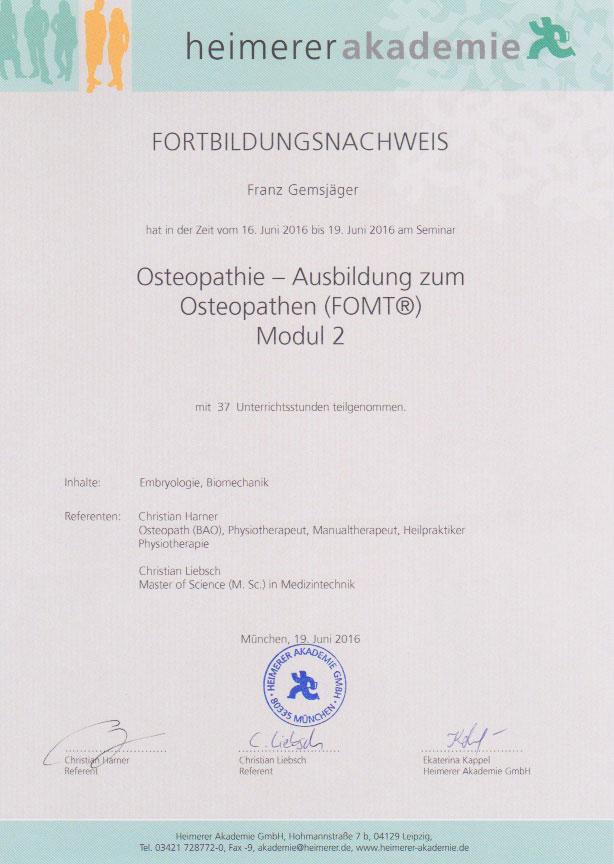 heimerer akademie - Zertifikat (19.06.2016)