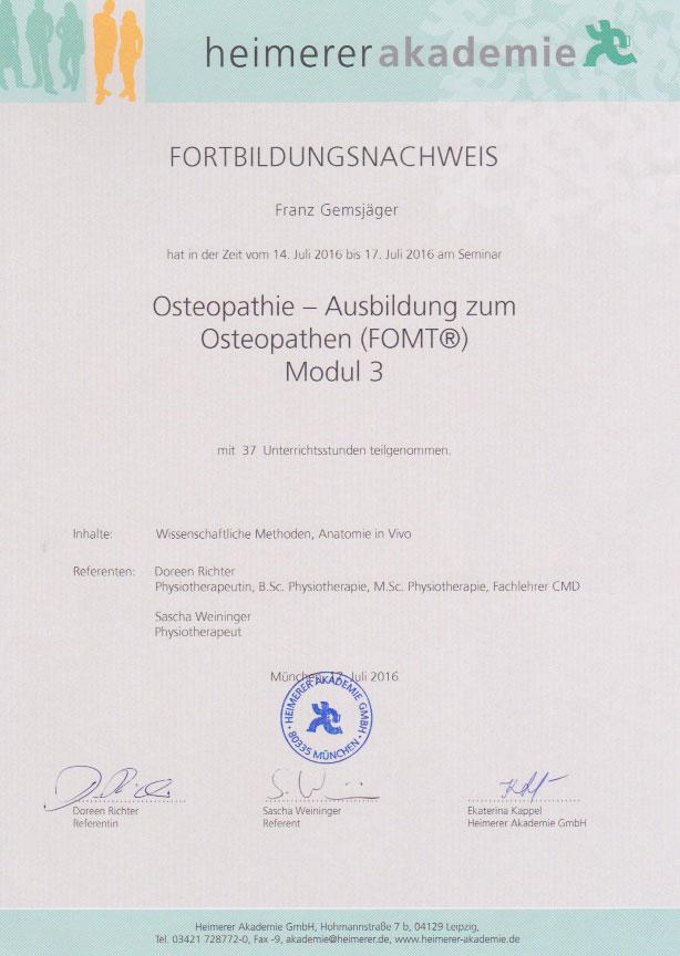 heimerer akademie - Zertifikat (17.07.2016)