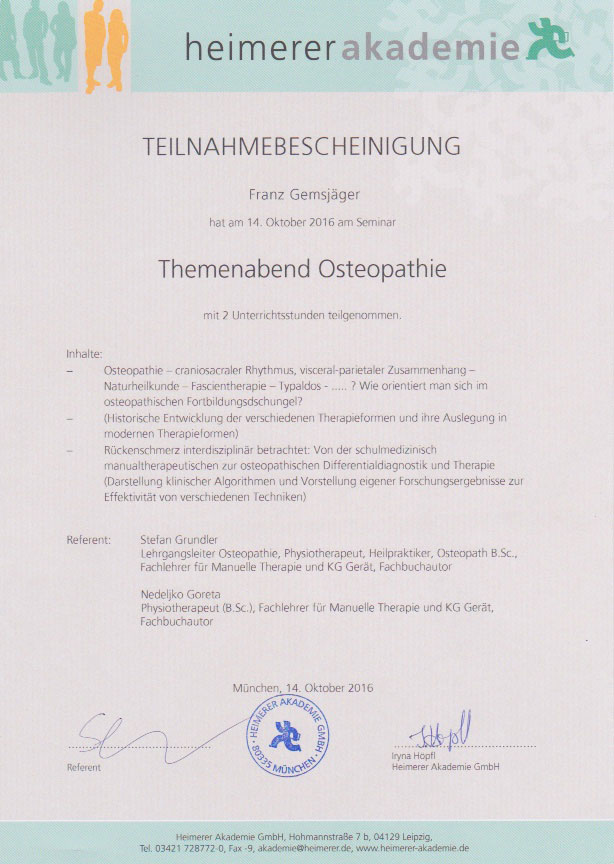heimerer akademie - Zertifikat (14.10.2016)
