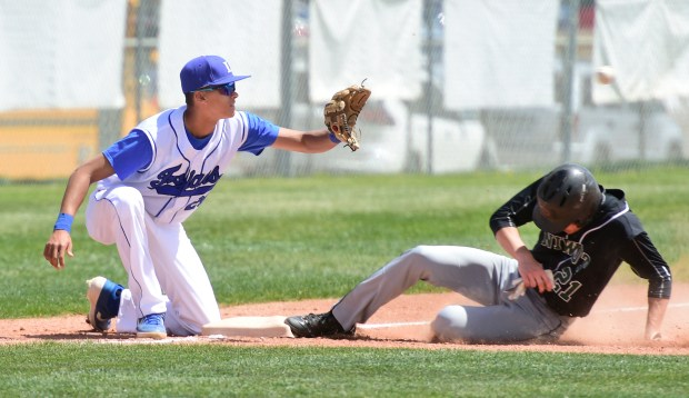 Nick Yard, of Niwot, gets safely ...