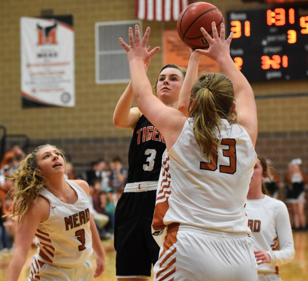 Erie's Grace Moyers, center, takes a ...