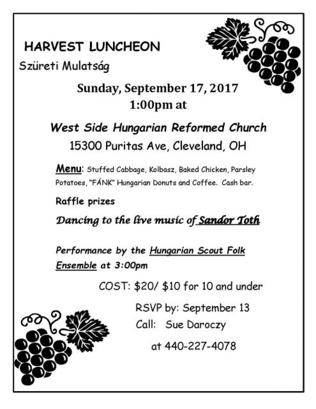 Harvest Day Lunch @ West Side Hungarian Reformed Church