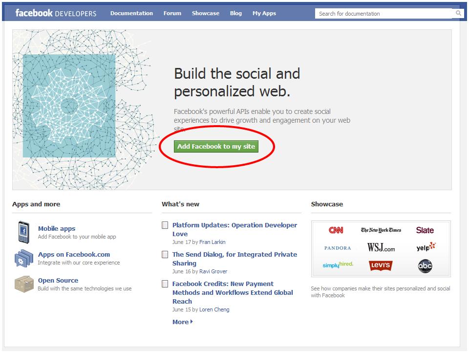 Facebook Developers Screen 1