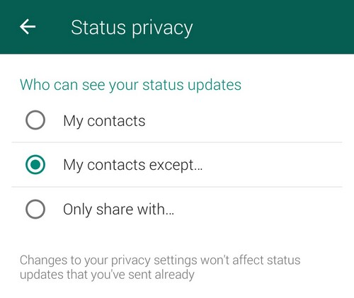 Whatsapp privacy status updates