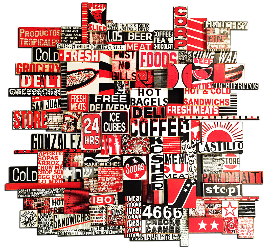 "24 Hour Gonzales, 2015, photo collage on cut plywood, 60""x60"", public lobby, Boston"