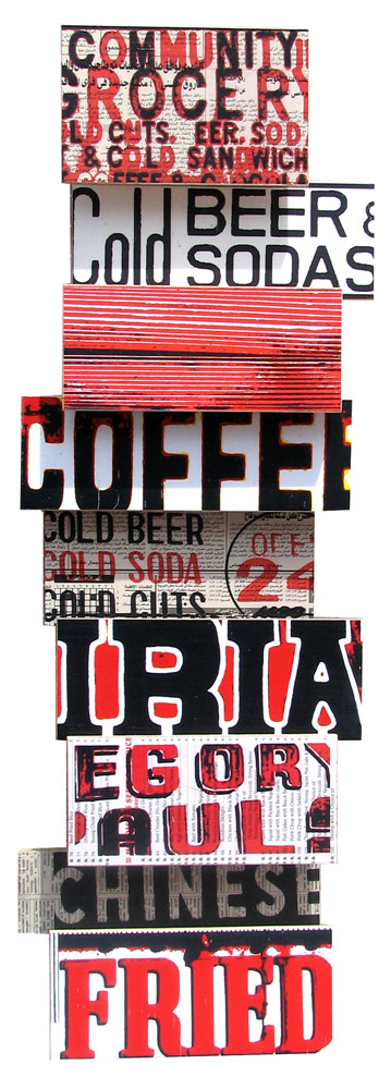 """Cold Fried Coffee (2008), mixed media photographic collage on salvaged plywood, 10""""x33"""""""