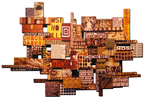 "Egg Foo Nosh, 2010, photographic collage on assorted salvaged plywood , 50""x78"", private collection, Brooklyn"
