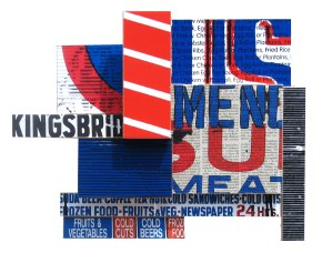 """Kings Meat (2008), mixed media photographic collage on salvaged plywood, 17""""X16"""""""