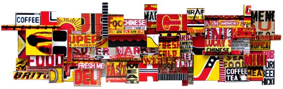 """Lucky's Tropical Sandwiches (2008), mixed media photographic collage on salvaged plywood, 84""""x24"""", private collection, Manhattan"""