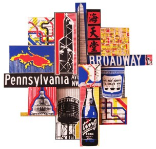 commissioned collage featuring geographic locations