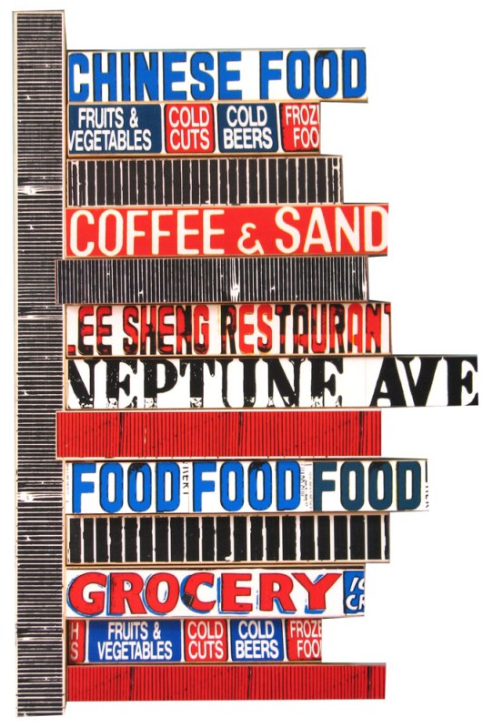 """Neptune Food (2008), mixed media photographic collage on salvaged plywood, 24""""x16"""""""
