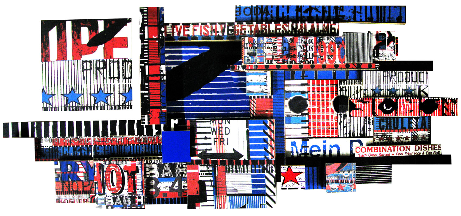 """Stars and Stripes (and Chuleta) (2009), mixed media photographic collage on salvaged plywood, 32""""x70"""", private collection, Switzerland"""