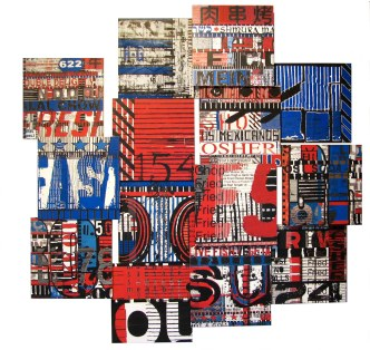 "Chow 154, 2009, mixed media photographic collage on salvaged plywood, 60""x60"", private collection, Manhattan"