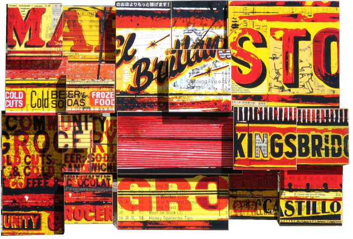 """Cold Cut King (2007), mixed media photographic collage on Russian baltic birch multi-ply plywood, 24""""x16"""""""