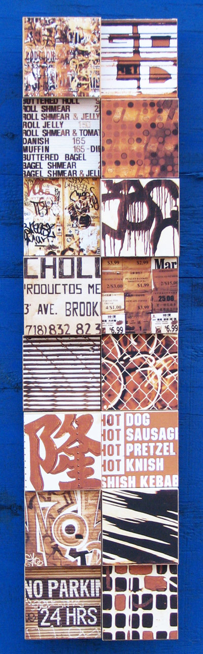 "Untitled, 2010, photographic collage on salvaged plywood, 32""x8"", private collections, New York, NY"