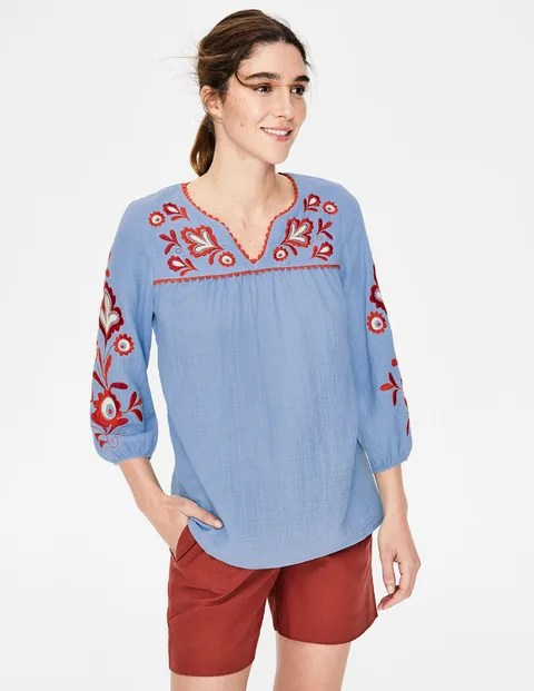 abigail embroidered top heron
