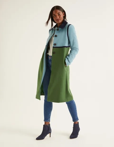 Green and Blue Colour Block Coat