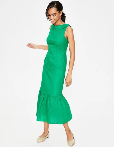 Green Linen Midi Dress
