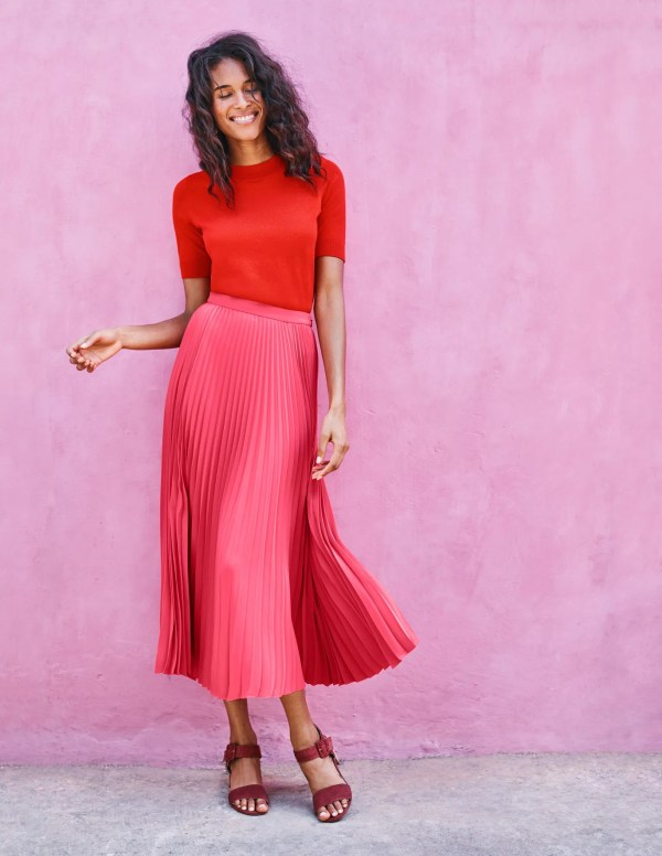 Kristen Pleated Skirt - Strawberry Split