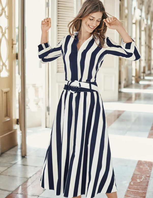Rebecca Midi Skirt - Navy and Ivory Stripe