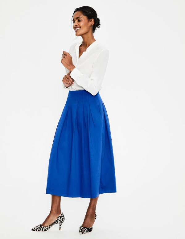 Theodora Pleated Skirt - Cobalt