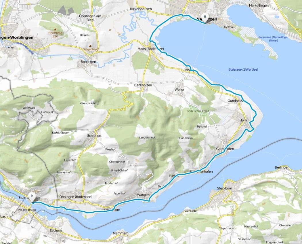 Karte Bodensee-Radweg Etappe 7